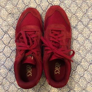 ASICS red tennis shoes